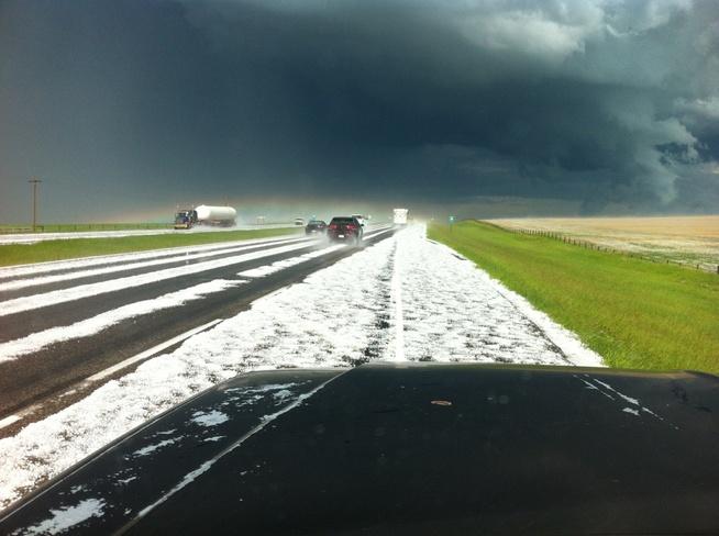 driving thru storm Strathmore, Alberta Canada