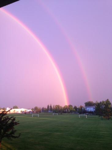 double rainbow after storm Edmonton, Alberta Canada