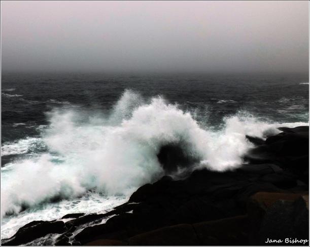 Hiking along the crashing waves Canning, Nova Scotia Canada