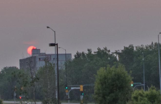 Hazy Winnipeg sunset,