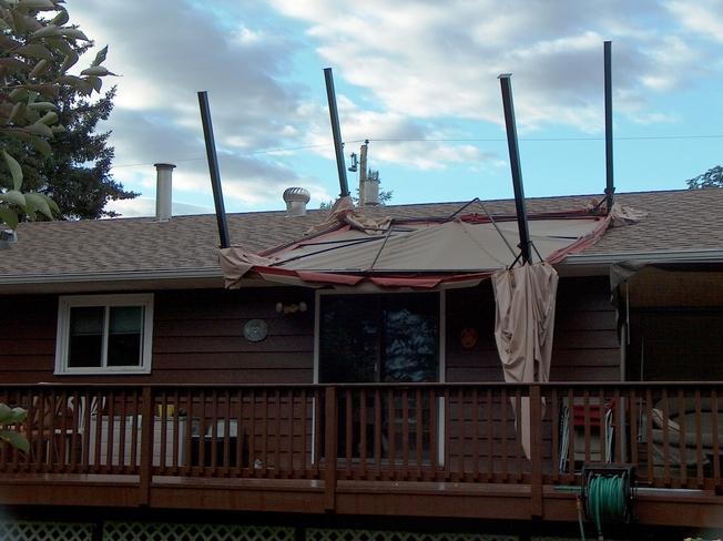 Gazibo blow on roof Fort Saskatchewan, Alberta Canada