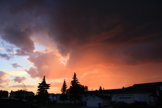 Sunset's passing shower Tofield, Alberta Canada