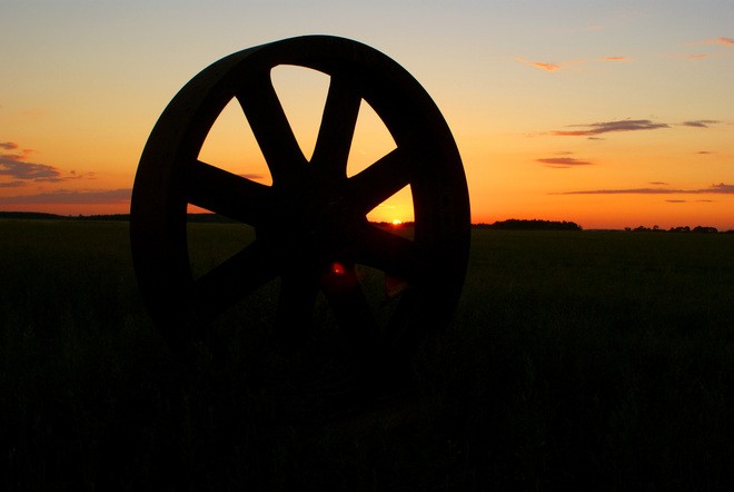 steam tractor wheel Beausejour, Manitoba Canada