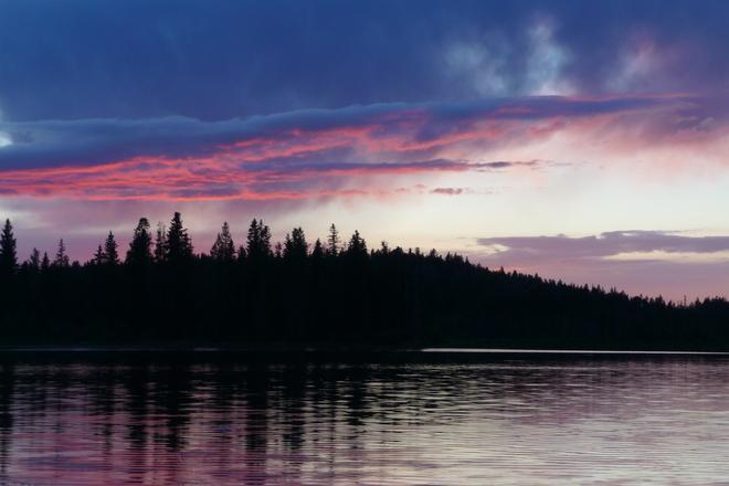 Colors on the Lake Caroline, Alberta Canada