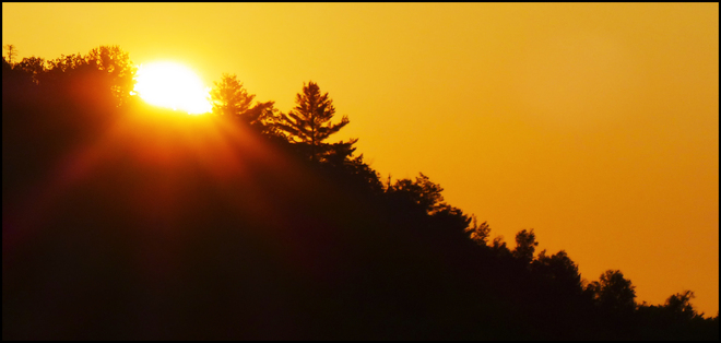Morning sunrise over the hills. Elliot Lake, Ontario Canada
