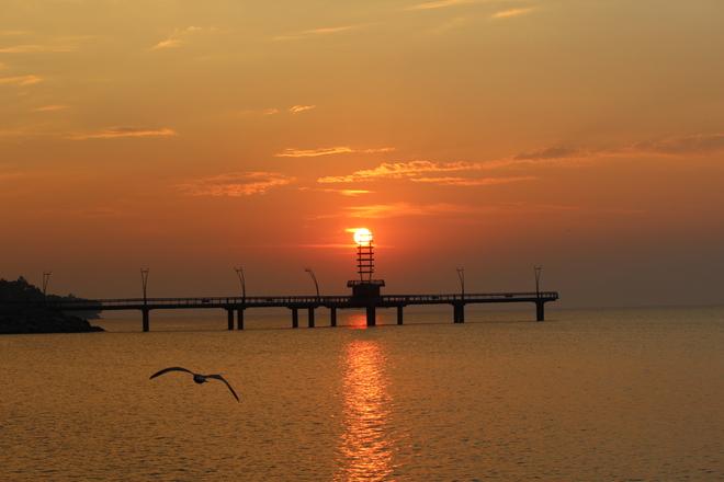 Sunrise over the pier in Burlington Burlington, Ontario Canada