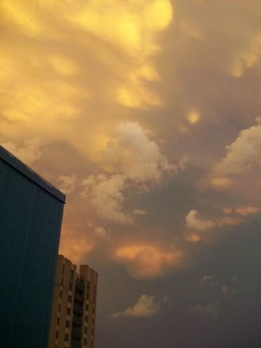Odd colourd sky Toronto, Ontario Canada