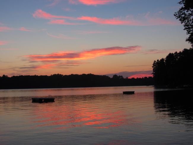 Nice pink orange sky at cottage Bracebridge, Ontario Canada