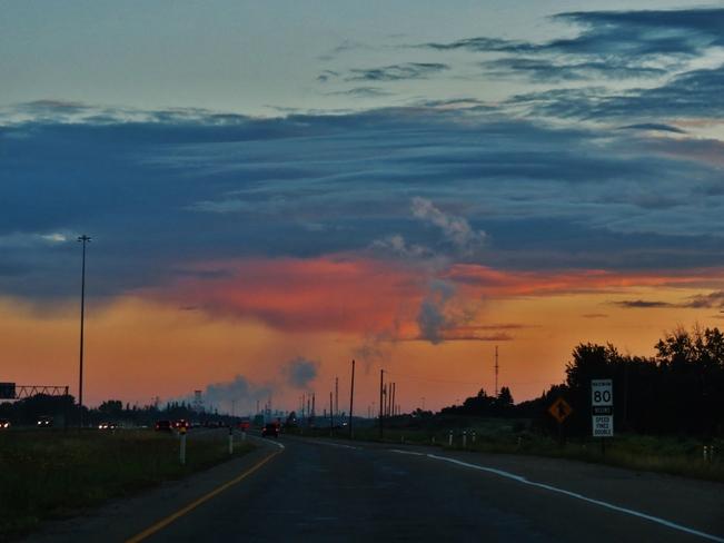 cool cloud with light rain Edmonton, Alberta Canada