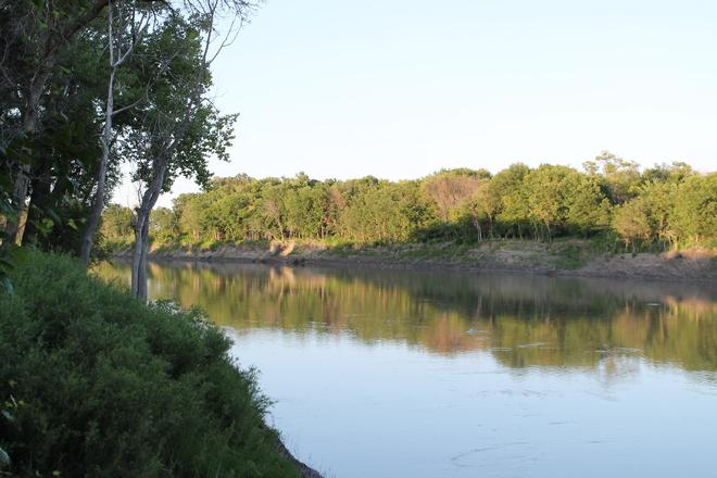 Red River at dusk St. Jean Baptiste, Manitoba Canada