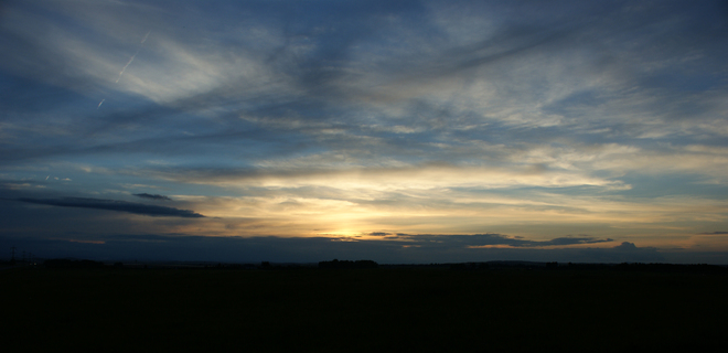 sunset on hwy 8 Calgary, Alberta Canada