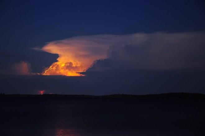 Lightning show Wunnumin Lake Indian Reserve 86, Ontario Canada