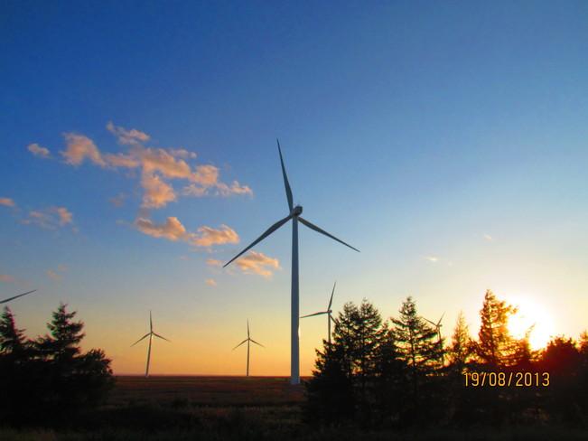 Windmills at Sunset Amherst, Nova Scotia Canada