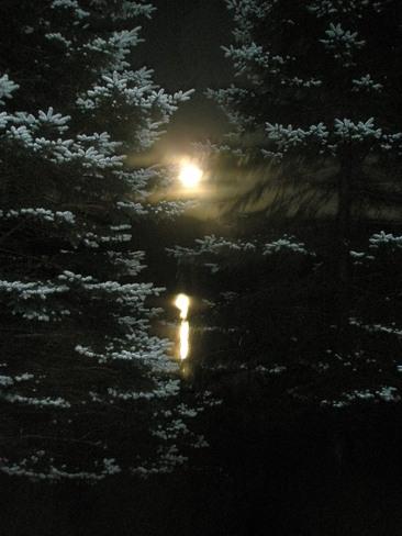 full moon + lake reflection Mont-Tremblant, Quebec Canada