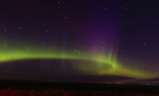 northern lights Brooks, Alberta Canada