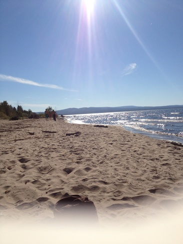 Sunny day at the beach Slave Lake, Alberta Canada