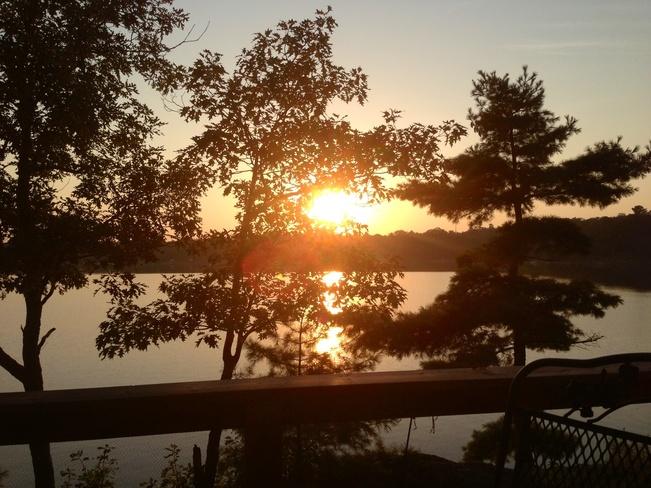 sunset on Gibson Lake Wahta Mohawk Territory, Ontario Canada