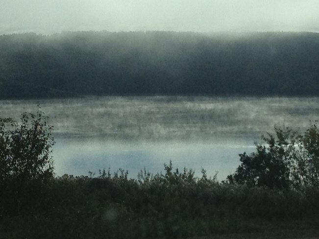 fog on lake of the prairies , Shellmouth, Manitoba Canada