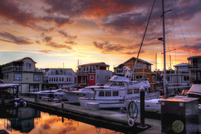 Sunset on the docks Esquimalt, British Columbia Canada