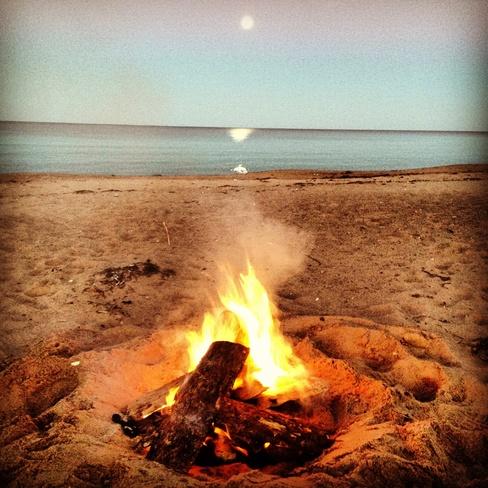 bonfire Murray River, Prince Edward Island Canada