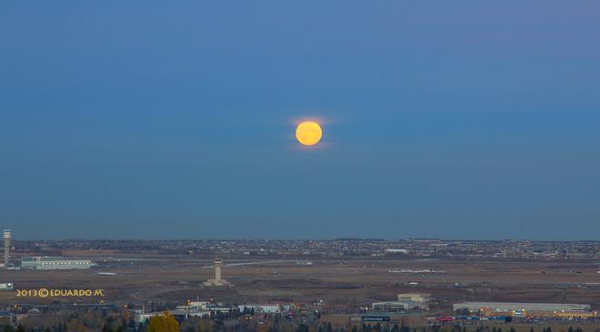 Hunter's Moon over Calgary Airport Calgary, Alberta Canada