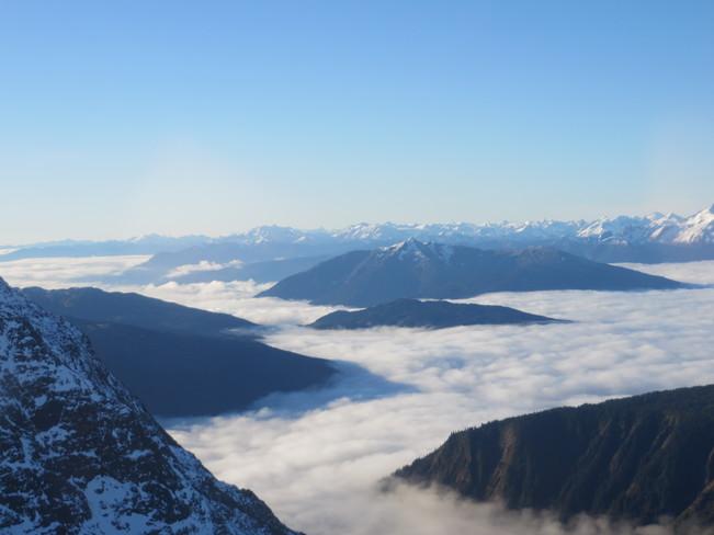 Islands in a cloud sea, Kitimat Ranges Terrace, British Columbia Canada