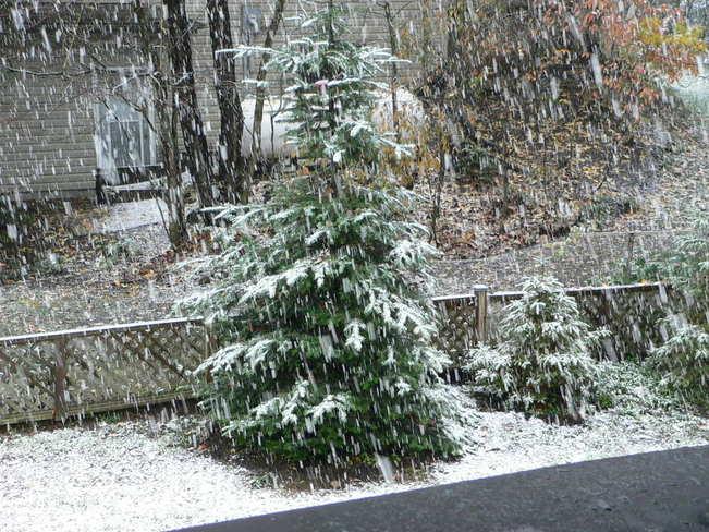 First snowfall in Muskoka Huntsville, Ontario Canada