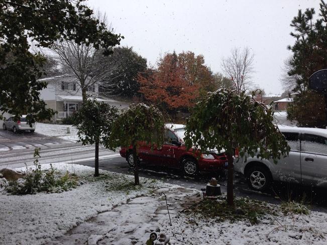 First snowfall in Orangeville Orangeville, Ontario Canada