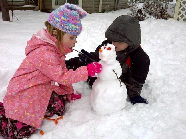First snowman of the season Airdrie, Alberta Canada