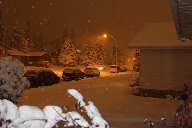 snowy night Red Deer, Alberta Canada
