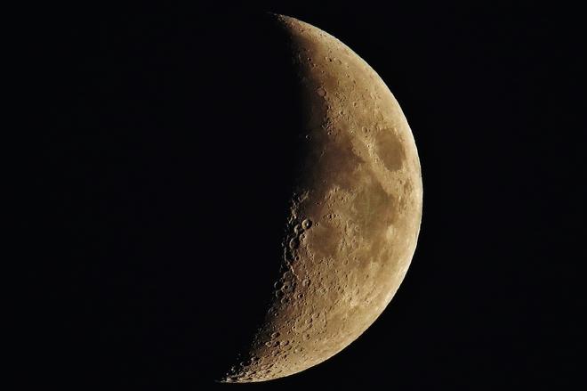 Waxing Crescent Moon over 'The Bay' North Bay, Ontario Canada