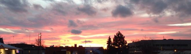 sun setting Pembroke, Ontario Canada