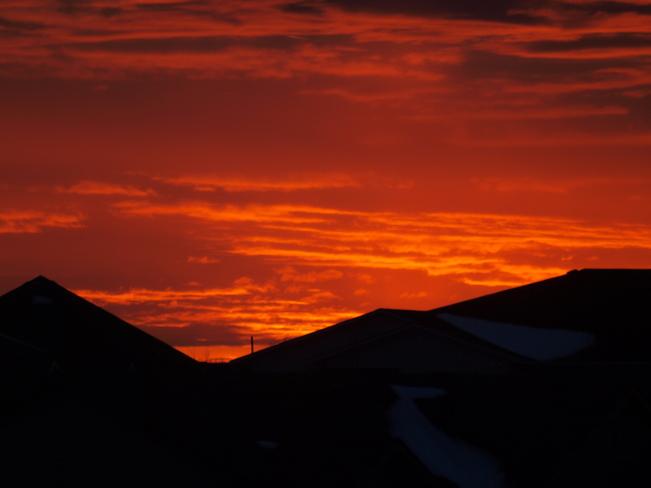 sunset today Saskatoon, Saskatchewan Canada