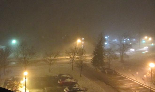 blowing snow Orillia, Ontario Canada