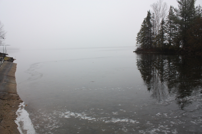 Fog and Ice around Cameron Lake Fenelon Falls, Ontario Canada