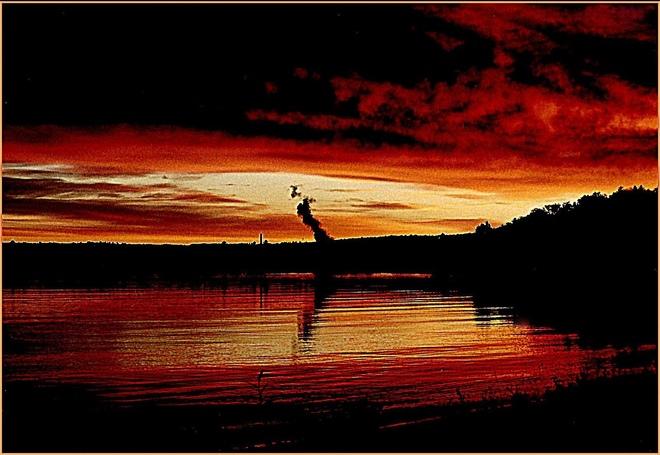 """DISTANT LAKE AT SUNRISE"" Escanaba, Michigan United States"