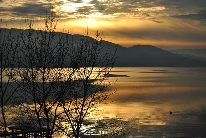 Sun Setting On Okanagan Bay South Kelowna, British Columbia Canada