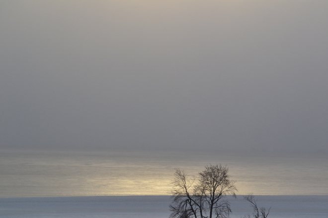 freezing over Sturgeon Falls, Ontario Canada