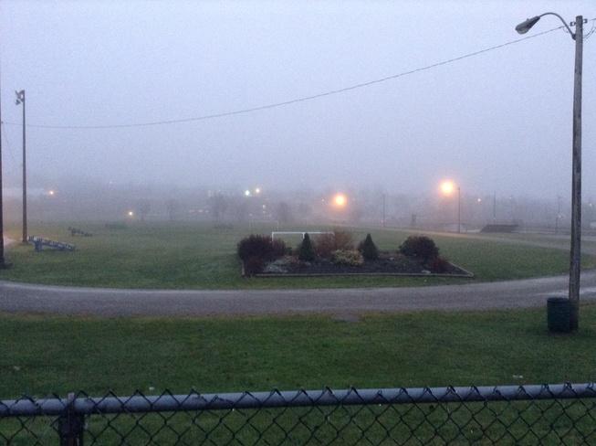 Neville Park during foggy day Sydney, Nova Scotia Canada