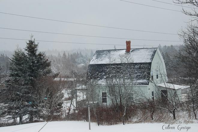 Snowy Village Scene Queensport, Nova Scotia Canada
