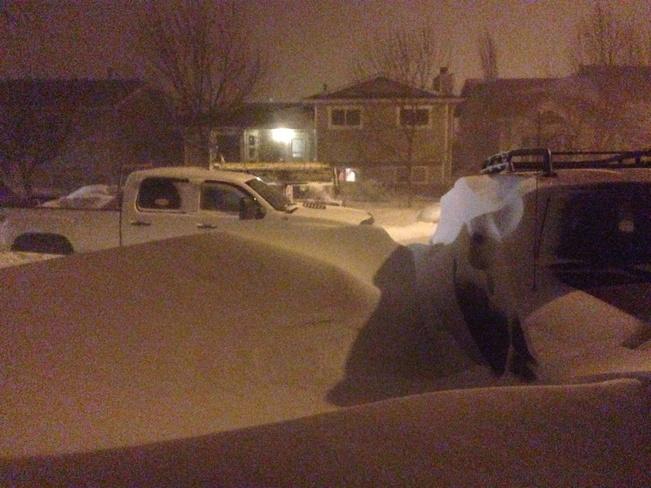 blizzerd hit hard Strathmore, Alberta Canada