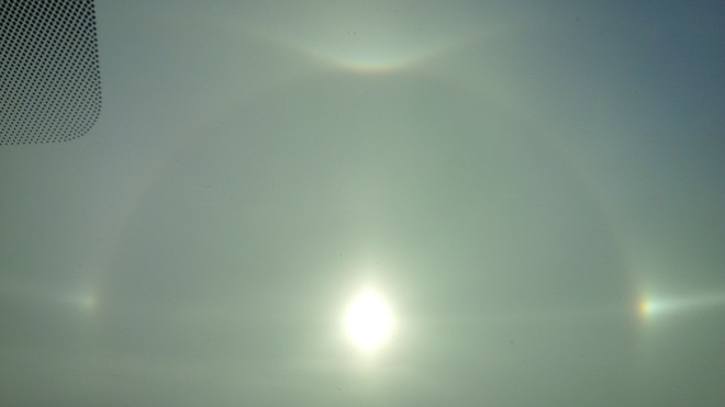 Sundog changing weather Olds, Alberta Canada