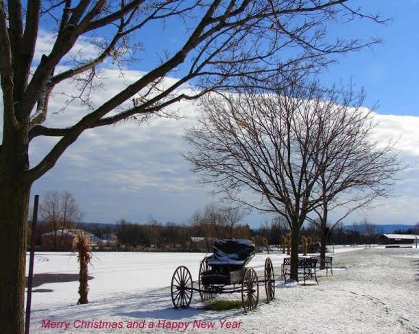 Snow at the farm. Milton, Ontario Canada