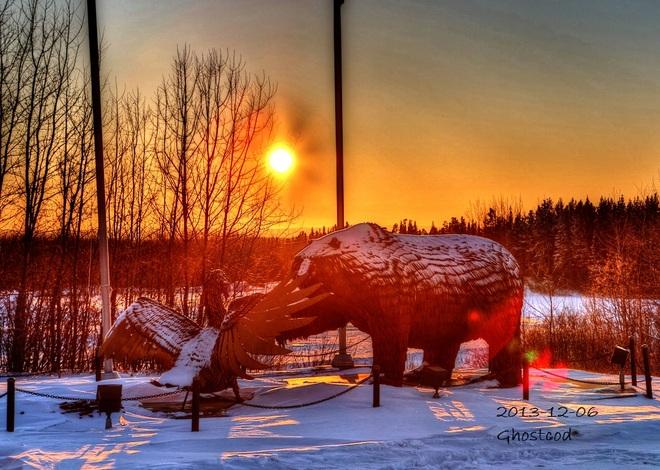 Sun going down Swan Hills, Alberta Canada