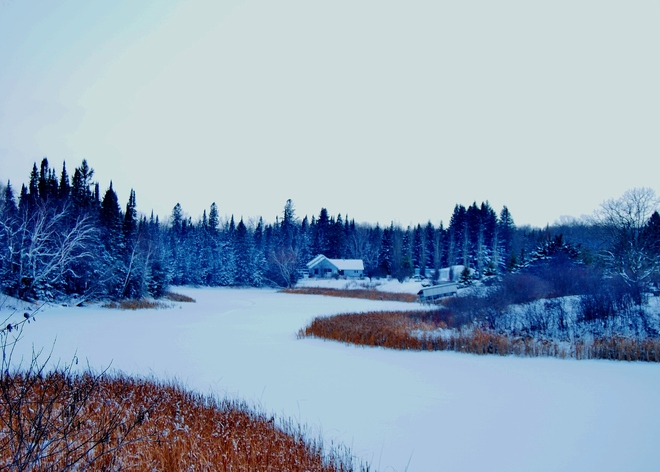 snowy scene Rainy River, Ontario Canada