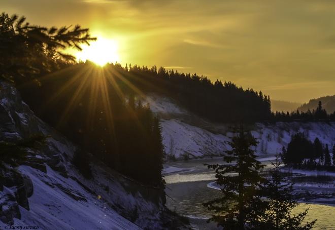 sunrise on the quesnel river Quesnel, British Columbia Canada