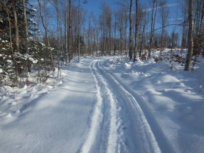 Breaking trail Plaster Rock, New Brunswick Canada