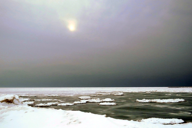 Arctic-like Lake Huron with winter sun Goderich, Ontario Canada