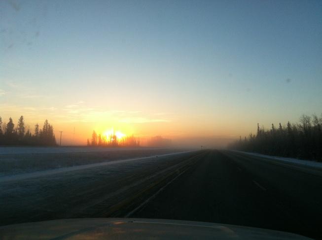 sunrise on Highway 63 Grégoire Lake 176A, Alberta Canada