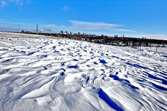 snow waves downtown Winnipeg, Manitoba Canada